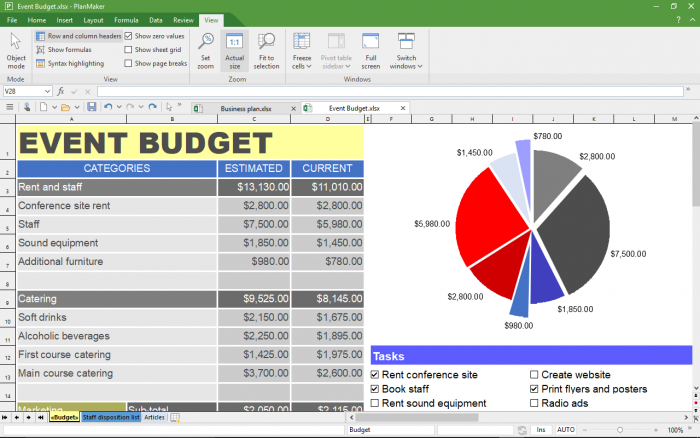 office suite spreadsheet