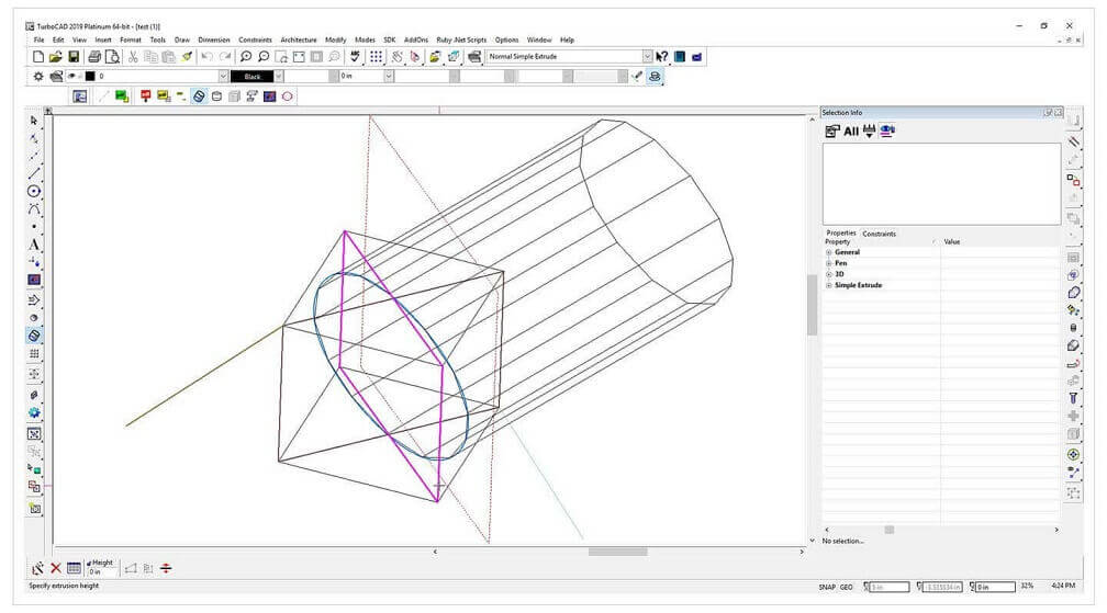 turbocad surface extrude